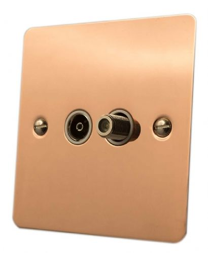 G&H FBC38W Flat Plate Bright Copper 1 Gang TV Coax & Satellite Socket Point